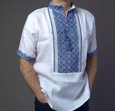 VYSHYVANKA Man Embroidery LINEN White blue Gray Short sleeve shirt S-4XL  #wooyko #Folk