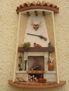 Tejas decoradas Más Tile Crafts, Decor Crafts, Diy And Crafts, Arts And Crafts, Clay Fairy House, Fairy Houses, Clay Projects, Projects To Try, Nostalgic Art