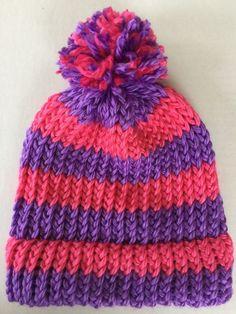 GIRLS ages 6-12 YR hot pink purple stripe winter pom pom hat, Hand KNIT in USA #HandKnit