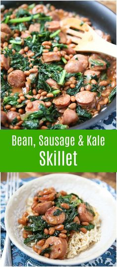 Easy, comfort food your family will love. Baked Bean, Sausage and Kale Skillet comes together quick - perfect for busy weeknights! Bean Recipes, Pork Recipes, Healthy Recipes, Kale Recipes, Ww Recipes, Healthy Foods, Cooking Recipes, Healthy Side Dishes, Side Dish Recipes