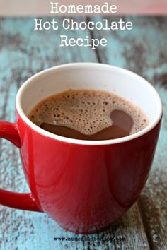 This homemade hot chocolate recipe is so easy and can be whipped up in just a few minutes. I make a large batch each week and keep the jar handy so that my children can easily make their own hot chocolate!