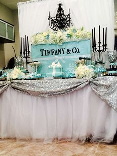 Tiffany OFF! Tiffany and Company Bridal/Wedding Shower Party Ideas Tiffany Blue Party, Tiffany Birthday Party, Tiffany Theme, Tiffany Wedding, Birthday Parties, Breakfast At Tiffanys Party Ideas, Tiffany's Bridal, Bridal Sets, Tiffany Baby Showers