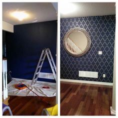 Cutting Edge Stencils shares DIY stenciled room ideas and accent wall projects. Navy Accent Walls, Navy Blue Walls, Accent Wall Bedroom, Gold Bedroom, Bedroom Decor, Bedroom Ideas, Stencil Painting On Walls, Bedroom Wall Designs, Decoration