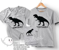 Daddysaurus Mommysaurus Babysaurus Shirts Set Matching Family T-shirt Daddy Mommy Daddy Baby Christmas Gift Idea Pregnancy Announcement Kid by BoooTees on Etsy https://www.etsy.com/listing/560495869/daddysaurus-mommysaurus-babysaurus