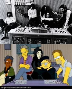 This scene of the Be-Sharps in the recording studio directly references, down to the smallest detail, a shot of the Beatles recording Let It Be in 1969