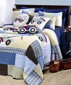 This Blue Trucks Patchwork Cotton Quilt Set is perfect! #zulilyfinds