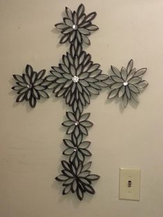Cross of flowers made from toilet paper rolls lots of fun to make black cross toilet roll mightylinksfo Choice Image