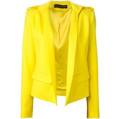Alexandre Vauthier Fitted Military Jacket (1,070 CAD) ❤ liked on Polyvore featuring outerwear, jackets, blazers, coats, takit, yellow jacket, fitted jacket, yellow blazer, yellow blazer jacket and blazer jacket