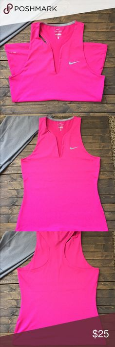 "Nike Tennis Racerback Tank w/ Dri-Fit Technology NWOT. Nike Tennis Racerback Tank with Dri-Fit Technology to wick away sweat during your matches. Scalloped V Neck style in excellent condition. No stains, tears or damage. Color is a bright fuscia pink. Chest measures 16"" and length is 24"". Material is polyester and spandex. Home is smoke and pet free. ✌️🌺 Nike Tops Tank Tops"