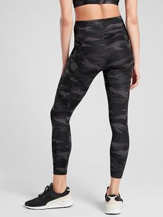 Ultimate Stash Pocket Camo 7/8 Tight | Athleta Black And White Leggings, Black Tights, Camo Print, Sport Wear, Petite Size, Personal Stylist, Trousers Women, Vintage Fashion, How To Wear