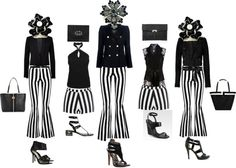 """""""Stripes and Sandals Black and White by Laura Leeds"""" by lleeds on Polyvore What to wear by Laura Leeds"""