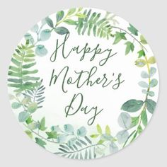 Pretty Floral Wreath Happy Mother's Day Classic Round Sticker   Zazzle.com Cool Stickers, Round Stickers, Custom Stickers, Morhers Day Gifts, Gifts For Mum, Mothers Day Crafts, Happy Mothers Day, Crafts For Kids, Green Wreath