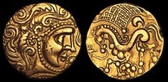 A Celtic gold coin minted by the Parisii, a Gaulish tribe who lived in northern France. It dates from the 1st/2nd century BC