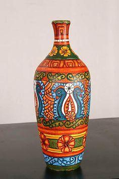 kerala mural art paintings on pot Pottery Painting Designs, Pottery Designs, Pottery Art, Kerala Mural Painting, Madhubani Painting, Kalamkari Painting, Bottle Painting, Bottle Art, Bottle Crafts