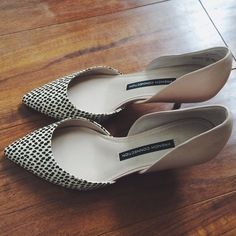 French Connection Effie Kitten Pointed Nude Heels Worn once. Size 37 EU/7 US. 2 1/2 inch heel. Polka Dot print with snake texture. Black, beige, and nude color. Modern style. Leather. So chic when worn with any skirt or skinny jeans! French Connection Shoes Heels