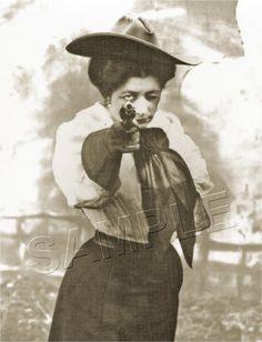 VINTAGE WESTERN DEAD-EYE COWGIRL RODEO PISTOL GUN ANTIQUE PHOTO *CANVAS* ART  #Vintage