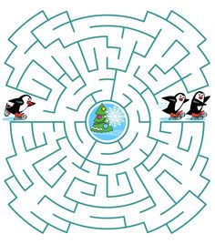 Coloring Puzzles for Kids Unique Help the Little Skating Penguin to Join His Friends Maze Puzzles Für Kinder, Maze Puzzles, Printable Mazes, Printable Puzzles For Kids, Homeschool Worksheets, Worksheets For Kids, Spot The Difference Kids, Preschool Activities At Home, Arabic Alphabet For Kids
