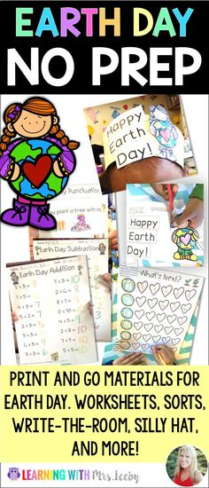 This print-and-go EARTH DAY pack has you covered for math, literacy, and more! This resource is perfect for kindergarten but many pieces are easily used PreK-2nd. Don't delay, snag today and never plan for Earth Day again.