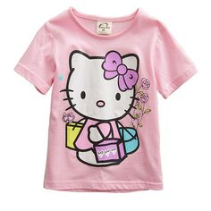 Kids Girls Clothes Baby Girl Cute Cartoon Hello Kitty T Shirts 2017 Summer Short Sleeve T-shirt Girls Pink Color Tops Tee Shirts //Price: $13.47 & FREE Shipping //     #hashtag2