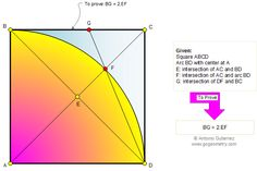 Square, arc, 90 degrees, congruence
