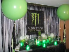 Monster Energy Drink Birthday Party   I designed and styled this dessert table @Viva La Cupcake