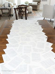 DIY Book Page Table Runner – Thistle Key Lane Book Club Snacks, Book Club Parties, Page Table, Book Table, Make A Table, Diy Table, Vintage Table, Book Pages, Book Crafts