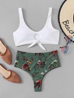 Shop Keyhole Top With Floral High Waist Bikini online. SHEIN offers Keyhole Top With Floral High Waist Bikini & more to fit your fashionable needs. Summer Bathing Suits, Cute Bathing Suits, Cute Swimsuits, Cute Bikinis, Lenceria Calvin Klein, Bikini Ready, Bikini For Women, Beachwear For Women, Bikini Swimwear