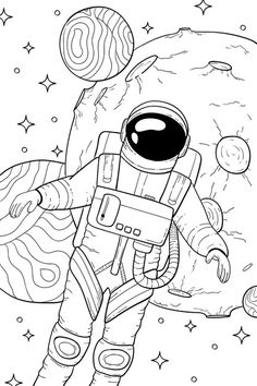 Astronaut in space coloring book | Premium Vector #Freepik #vector Adult Coloring, Coloring Books, Coloring Pages, Planet Drawing, 2017 Planner, Astronauts In Space, Aesthetic Desktop Wallpaper, Book Aesthetic, Colorful Pictures