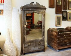 Cabinet  material: wood & mirror  size: 84 x 43 x 174(h) cm