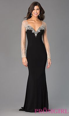 V-Neck Long Sleeve Xcite Prom Dress at PromGirl.com