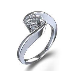 Bague en Or Blanc 14k avec Diamant 1/2 ct Monture Chaton Tourbillonnant