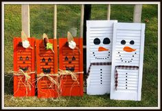 The decorations on the jack shutters are out of an old pot pourri bag that was i. - The decorations on the jack shutters are out of an old pot pourri bag that was i… - Snowman Crafts, Fall Crafts, Holiday Crafts, Crafts To Make, Halloween Crafts To Sell, Painting Shutters, Diy Shutters, Window Shutters, Bedroom Shutters