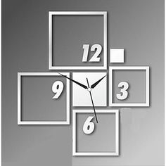 3D DIY Modern Style New Acrylic Square Mirror Wall Clock de 2015 à €15.67