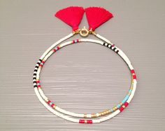 Boho Wrap Bracelet Seed Bead Friendship Bracelet by feltlikepaper