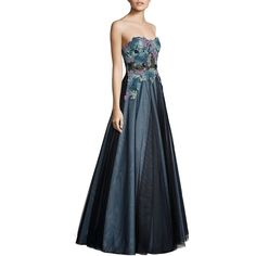 Basix Black Label Strapless Lace Ball Gown ($390) ❤ liked on Polyvore featuring dresses, gowns, lace evening dresses, strapless gown, floral evening dresses, floral lace dress and sequined dress