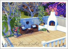 Outdoor Wood Pallet Benches, Coffee Table and Chair Set (new mesh) | Sims 4 Designs