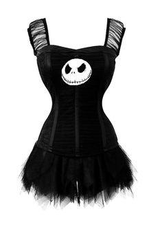 Jack Skellington black ruffled corset lace up by KILLERCUTECOUTURE