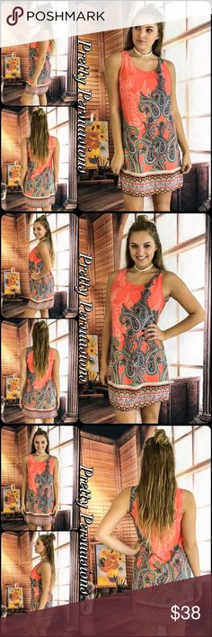 """NWT Paisley Print Shift Dress NWT Paisley Print Shift Dress  Available in sizes S, M Measurements taken from a small  Length: 34"""" Bust: 36"""" Waist: 36""""  Made in the USA  Features  • pretty, on trend blush coral paisley print  • sleeveless  • border print bottom hem • rounded neckline  • small keyhole opening at back of neck • relaxed, easy fit  • soft, breathable material   Bundle discounts available  No pp or trades  Item # 1/101190380CPD black white striped blush pink floral vintage print…"""
