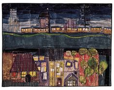Hundertwasser - DIE BAHN NACH SCEAUX - St. Mandé/Seine, 1950 Watercolour and charcoal on primed wrapping paper 500 mm x 650 mm Painted in St. Mandé/Seine, probably March 1950