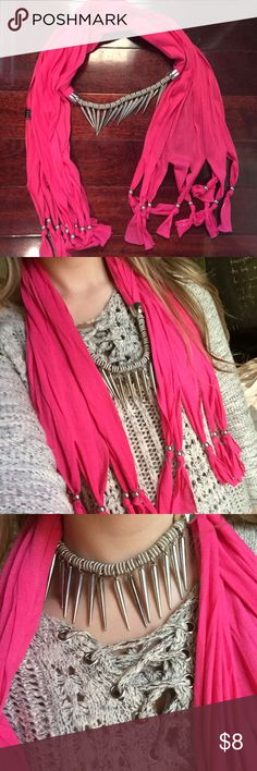 Hot pink choker necklace scarf Hot pink scarf with choker necklace detail Accessories Scarves & Wraps