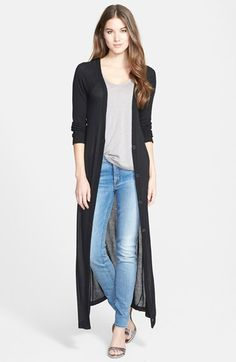 Free shipping and returns on Olivia & Vivian V-Neck Rib Detail Maxi Cardigan at Nordstrom.com. Ribbing at the long raglan sleeves and V-neck placket adds subtle dimension to a full-length cardigan in a whisper-light fabrication.