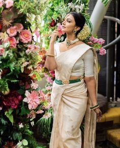 To make it easier for you, we have the top trending beautiful silk saree blouse designs so that you can choose the best for your saree look. Silk Saree Blouse Designs, Silk Sarees, Indian Sarees, South Indian Bride, Indian Bridal, White Saree, Saree Look, Bride Look, Bollywood Fashion
