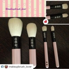 #Repost @makeupbrush_lover with @repostapp.  Koyomo: the family of the Pearl pink handle has grown up  I added the flat brush which is a nice soft brush to deposit product on your eye lid. So happy with this new brush  #japanesebrushes #brushlover #fude #japan #makeupbrushes #koyomo #fudejapan