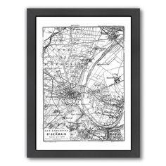 "East Urban Home 'Vintage Paris Map' Framed Graphic Art Print Size: 15"" H x 12"" W x 1"" D, Frame Color: Black"