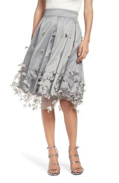 Eliza J Floral Appliqué Ball Skirt at Nordstrom.com. Shimmery embroidery and petal appliqués trace floral designs that pop on this A-line skirt with surreal dimension. A banded waist and kick pleats shape and define the silhouette for a flattering fit.