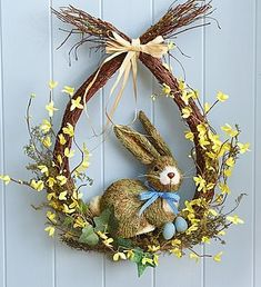 Teardrop Bunny Wreath ~ (item# grapevine base with star forsythia, bunny & eggs for Easter Easter Gift, Easter Crafts, Easter Bunny, Bunny Crafts, Easter Eggs, Easter Flower Arrangements, Easter Flowers, Spring Crafts, Holiday Crafts