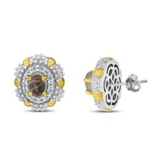 Viola, Round-cut Rose Quartz & White Topaz Earring in Sterling Silver Yellow Plated