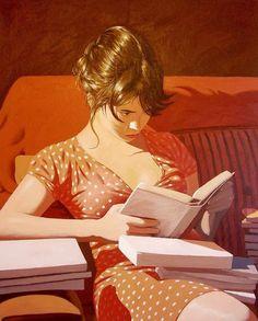 """""""Books are a uniquely portable form of magic."""" .. (quote Stephen King) .. (art Pablo Gallo)"""