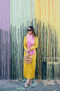 ASOS Yellow Satin Long Sleeve Dress