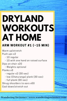 Keep in shape while away from the pool with some dryland workouts you can do at home. This set focuses on arms and you can complete it in about 15 minutes. For a longer burn, go through it twice! Swimming Drills, Swimming Memes, Swimming Workouts, Swimming Tips, Pool Workout, Stretches For Swimmers, Workouts For Swimmers, Cycling Workout, Cycling Tips